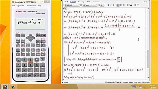 Giải hệ phương trình bằng máy tính cầm tay