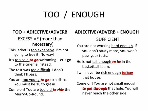 Học tiếng Anh mỗi ngày cùng cấu trúc too enough